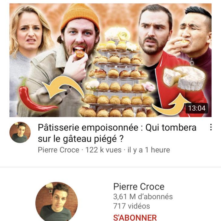 SORTIE VIDEO YOUTUBE PIERRE CROCE
